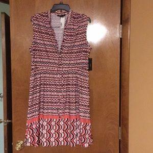 Pink, black and white chevron pattern dress